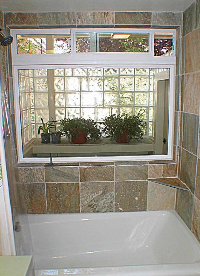 Bathroom Windows Over Shower glass enclosure