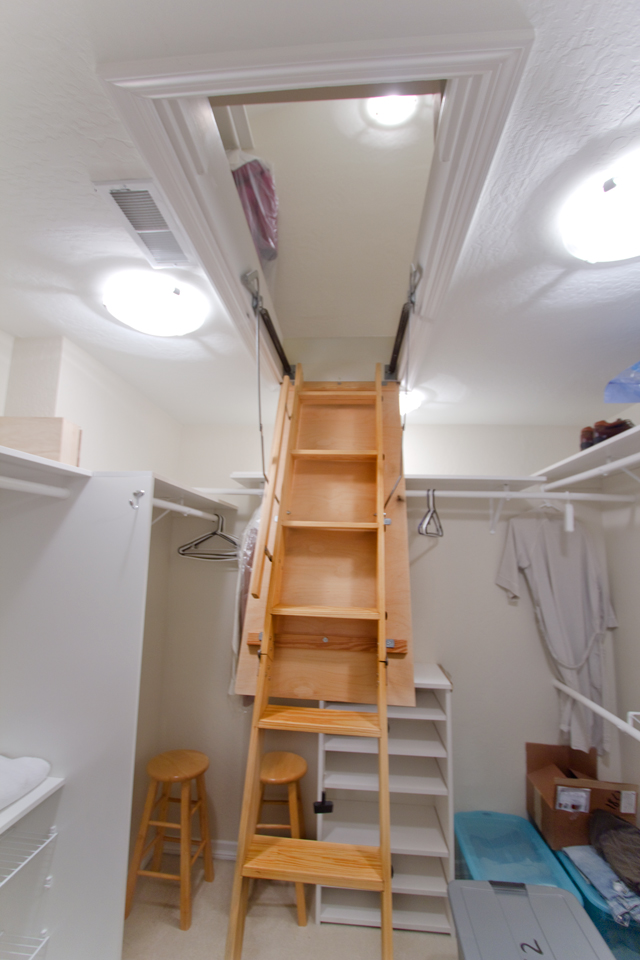 there is a finished and unfinished attic storage area above the master bedroom closet access is