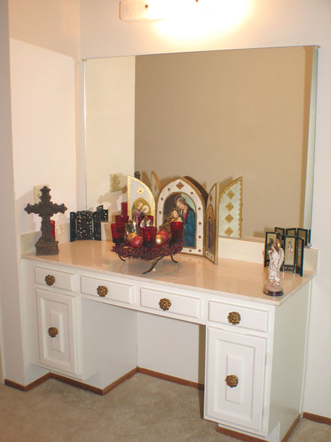 Vanity in master bedroom Master bedroom with bathroom vanity